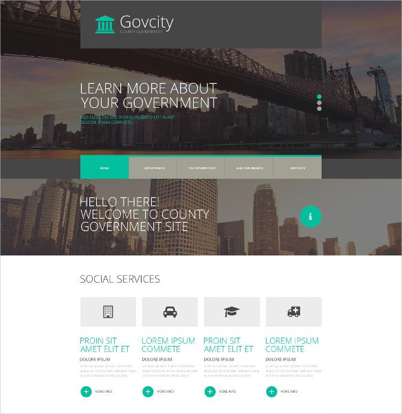 government responsive political bootstrap website template