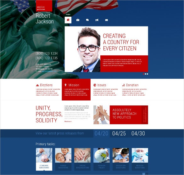political candidate responsive wordpress bootstrap theme