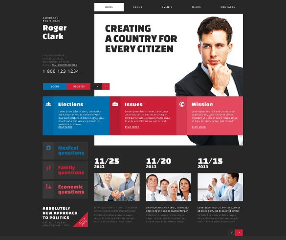 political candidate joomla bootstrap template