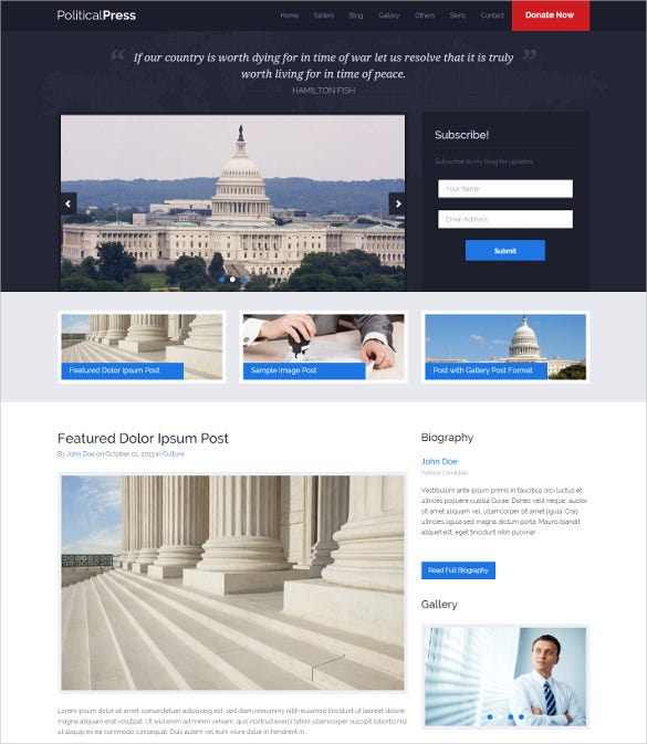 political press bootstrapresponsive wordpress theme