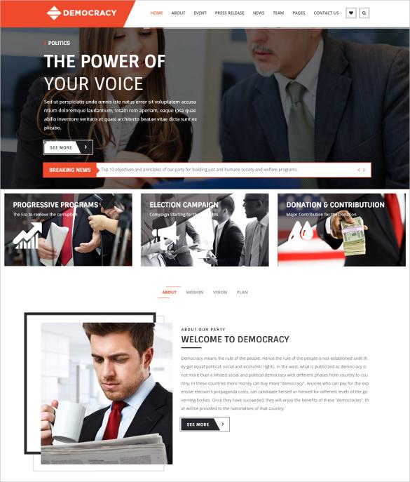 democracy html5 css3 bootstrap politicaltheme