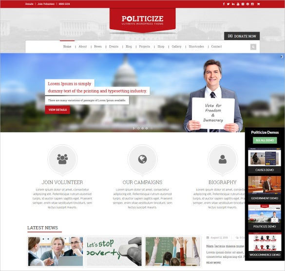 political bootstrap responsive wordpress theme