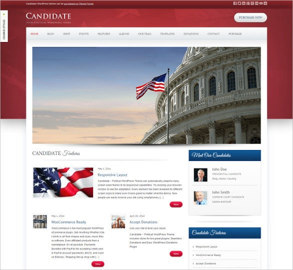 simple political wordpress bootstrap theme
