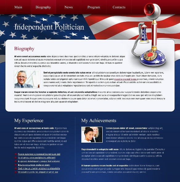 free political bootstrap website template
