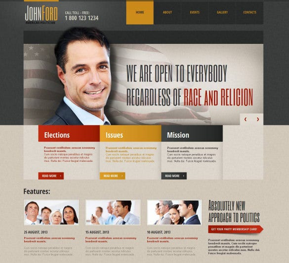 political candidate moto cms html php template