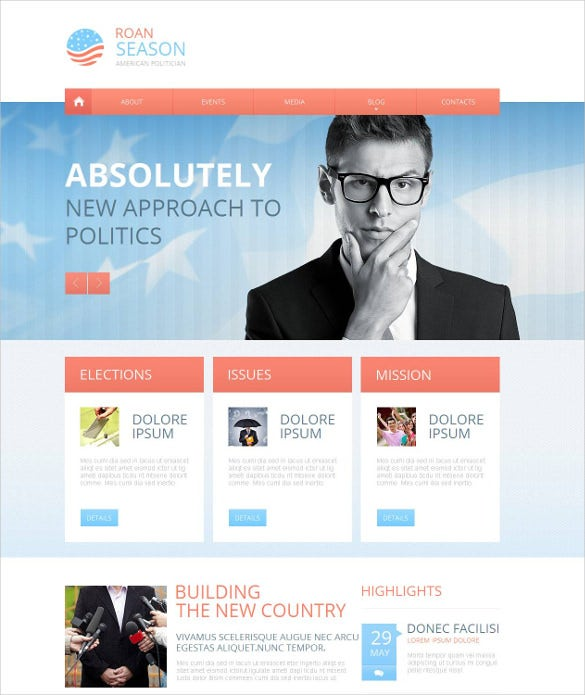 political candidate moto cms html php theme