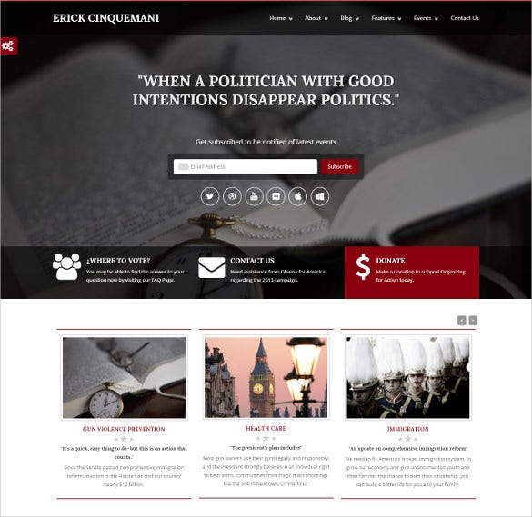 political bootstrap html5 php theme