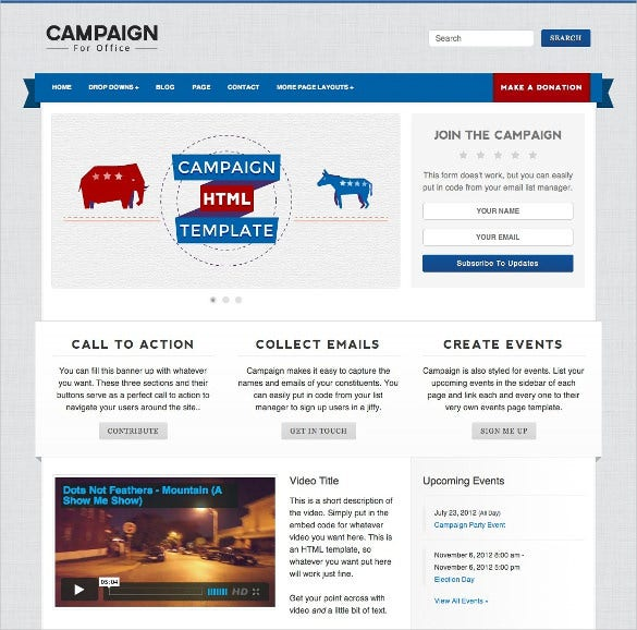 campaign political html php template