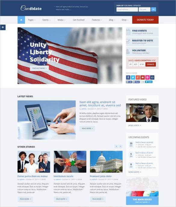 candidate political html php theme