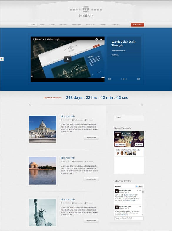 responsive political campaign wp php theme