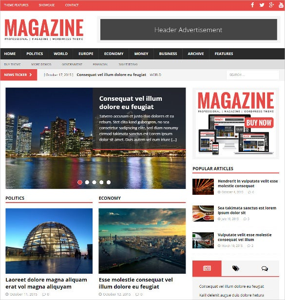political magazine wordpress php template