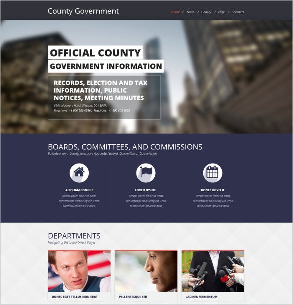 government political responsive website template
