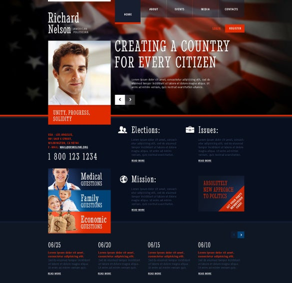 candidate responsive website political template
