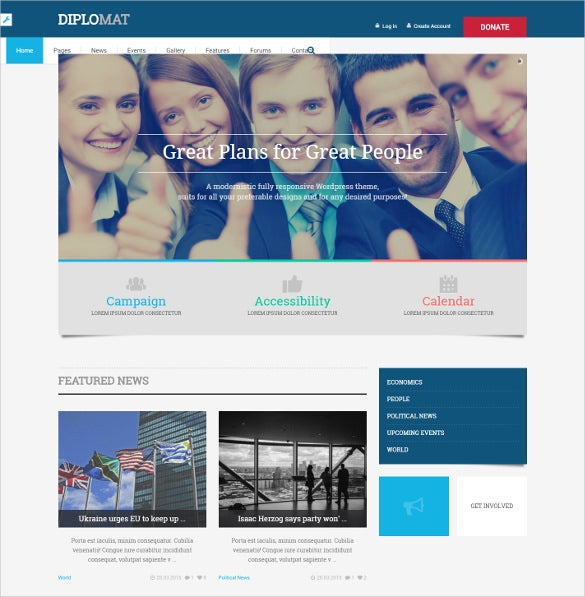 splendid political wordpress website theme