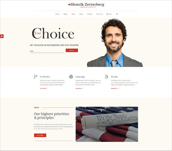 political non profit wordpress website theme