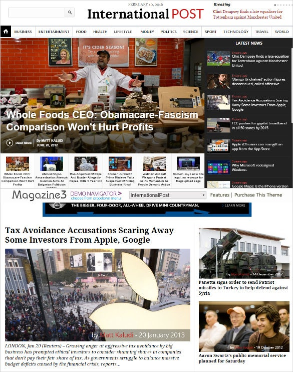 international political newspaper website theme