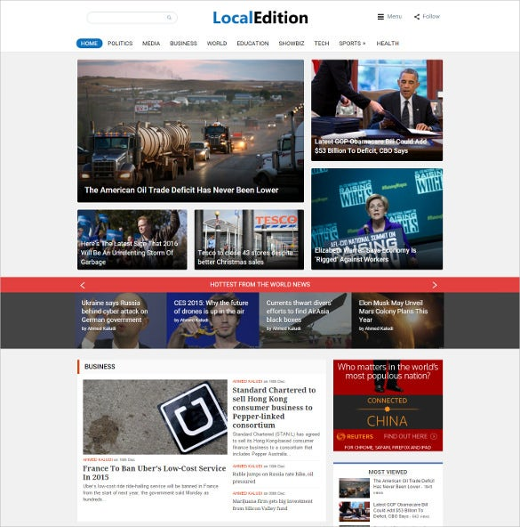 local politics news magazine website template