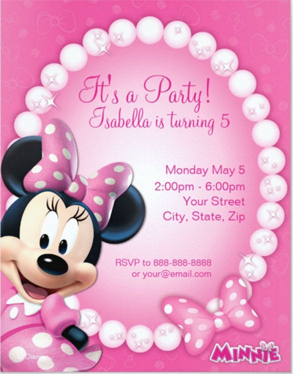 Minnie Mouse Invitation Template Free Sample Example Format - Minnie mouse 1st birthday invitations templates