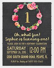 Flower-themed-Gold-Foil-First-Birthday-Invitation
