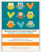 Owl-print-first-Birthday-Invitation