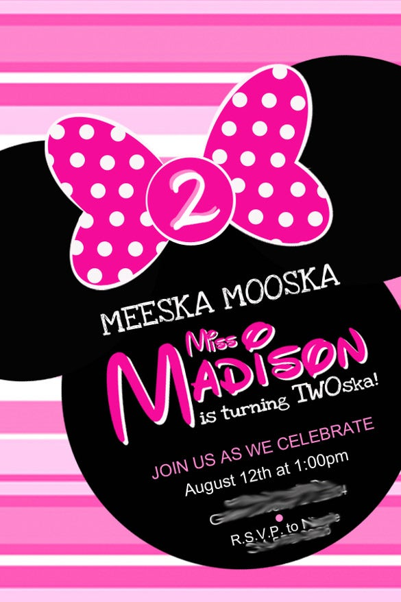 Minnie Mouse Invitation Template Free Sample Example - Minnie mouse birthday invitation message