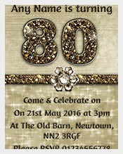 Birthday invitations 550 free sample example format download personalised titanium gold sparkly 80th birthday party invitation filmwisefo