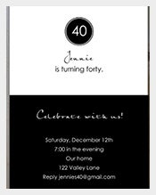 Elegant-Black-and-White-Printable-40th-Birthday-Invitation