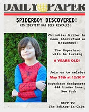 Newspaper-based-Superhero-Birthday-invitation