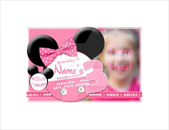 Psd Format Minnie Mouse Party Invitation Download1 This Template For Your Childs Birthday