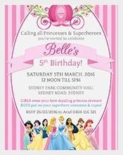 Pink-DISNEY-PRINCESSES-Girls-Personalised-Birthday-Invitation