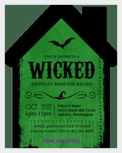 Green-Colour-Witch-House-Shaped-Halloween-birthday-invitation