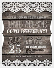 White-Lace-&-Rustic-Brown-Adult-Teen-Birthday-Invitation