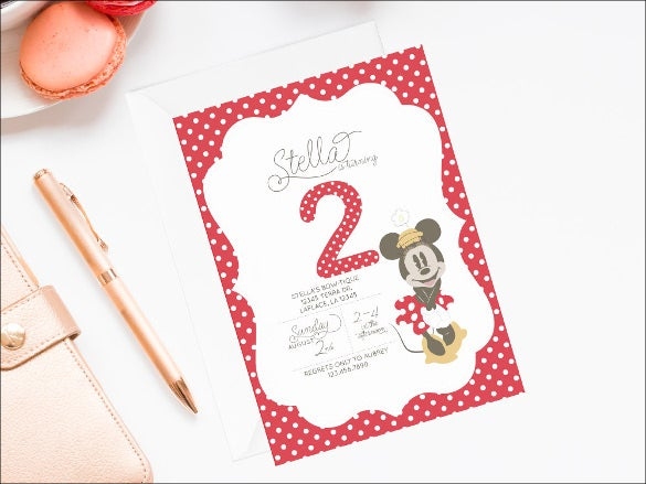 minnie mouse invitation with white dots on card