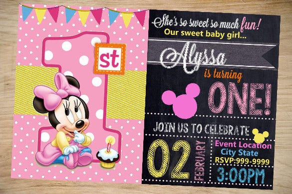 chalkboard style minni mouse invitation template