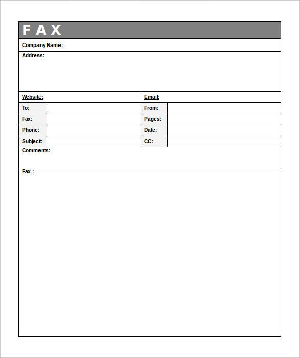 company generic fax template free download