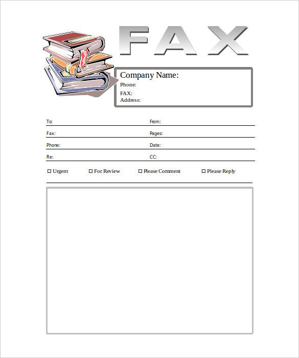 stack of books generic fax cover sheet template