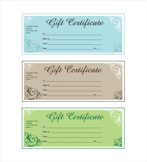 Business Gift Certificate Example Word Template Free