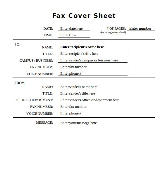 10 generic fax cover sheet templates free sample