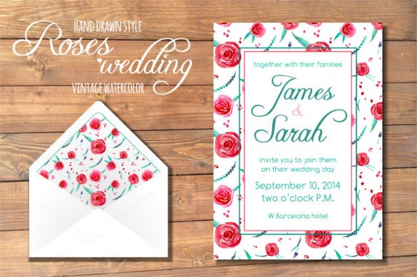 roses country wedding invitation psd format