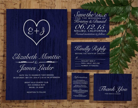 navy blue country wedding invitation set