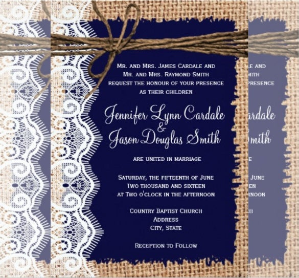 Burlap Lace Twine Country Wedding Invitation