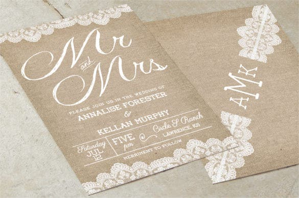 burlap country wedding invitation suite