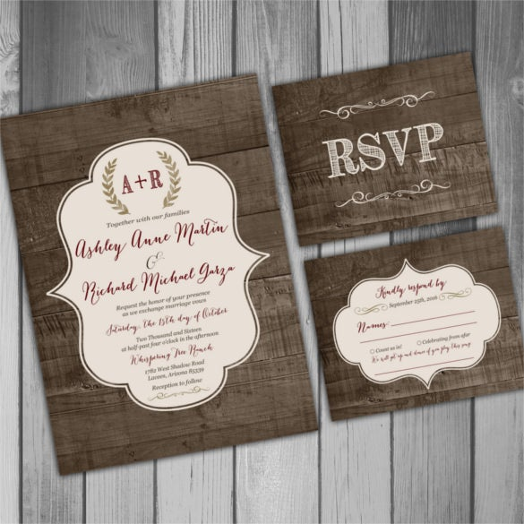 wood country wedding invitation psd format