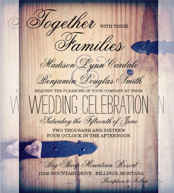 barn wood latch country wedding invitation