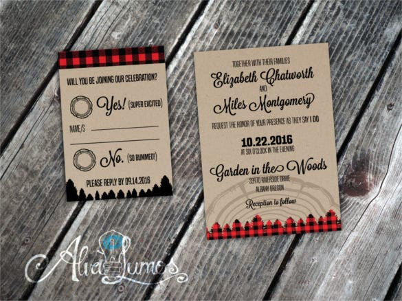 woodsy country wedding invitation suite