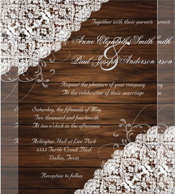 Barn Wood And Lace Rustic Country Wedding Invitation