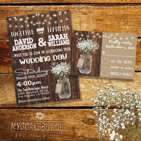 mason jar wood floral bouquet flowers country wedding invitation