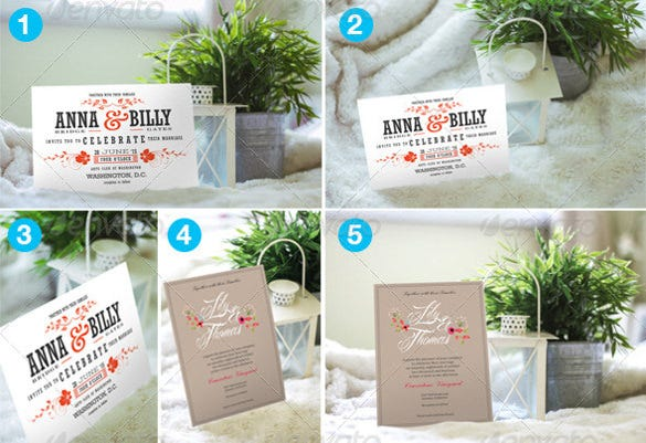6 photo realistic cards and invites mock ups