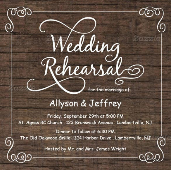 rustic wood rehearsal country wedding invitation suite