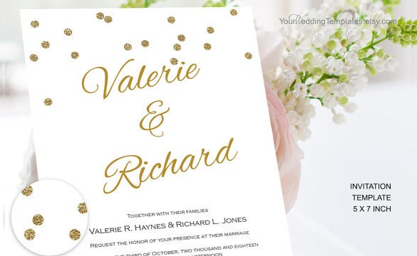 modern gold glitter confetti wedding invitation